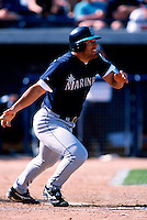 Shane Monahan of the Seattle Mariners participates in a Major League Baseball Spring Training game during the 1998 season in Phoenix, Arizona. (Larry Goren/Four Seam Images)