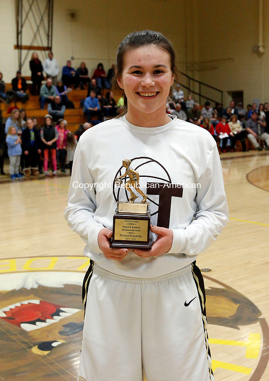 Thomaston, CT- 22 February 2016-022216CM16-   Thomaston's Nicole Schaefer received the 20016 Edward B. Kolakoski sportsmanship award.   Christopher Massa Republican-American