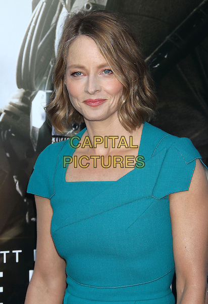 Jodie Foster<br /> &quot;Elysium&quot; Los Angeles Premiere held at the Regency Village Theatre, Westwood, California, UK,<br /> 7th August 2013.<br /> portrait headshot blue turquoise dress teal <br /> CAP/ADM/RE<br /> &copy;Russ Elliot/AdMedia/Capital Pictures