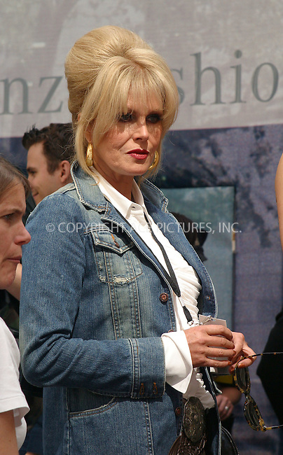 "Stars of British comedy show ""Absolutely Fabulous"" (AbFAB), Jennifer Saunders and Joanna Lumley filming scenes for their show in Bryant Park in New York during New York Fashion Week. They attended Jared Gold fashion show. September 22, 2002. Please byline: Alecsey Boldeskul/NY Photo Press.   ..*PAY-PER-USE*      ....NY Photo Press:  ..phone (646) 267-6913;   ..e-mail: info@nyphotopress.com"