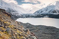 Tasman Glacier terminal lake after massive terminal face calving in 2010, Mt. Cook National Park, Mackenzie Country, World Heritrage Area, New Zealand