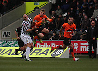 Stuart Armstrong jumping after the Jim Goodwin tackle in the St Mirren v Dundee United Clydesdale Bank Scottish Premier League match played at St Mirren Park, Paisley on 27.10.12.