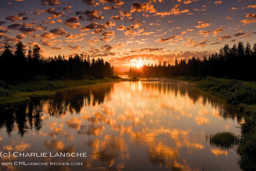 A rising sun over the Yellowstone Caldera illuminates a new day of endless possibilities on Idaho's Buffalo River.  Island Park, Idaho<br />  www.Henrysfork.org