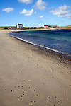 Sandy beach and sea shore, Melby, near Sandness, Mainland, Shetland Islands, Scotland