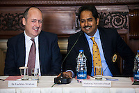 (L-R) Dr. Lachlan Strahan (Australian Deputy High Commissioner to India) and Maharaj Narendra Singh (Maharaj of Jaipur) share a light moment as Maharaj Narendra Singh speaks during a press conference on Oz Fest in Raj Mahal Palace hotel, Jaipur, India on 10th January 2013. Photo by Suzanne Lee/DFAT