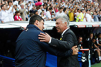 Carlo Anceloti of Real Madrid and German Burgos of Atletico de Madrid during La Liga match between Real Madrid and Atletico de Madrid at Santiago Bernabeu stadium in Madrid, Spain. September 13, 2014. (ALTERPHOTOS/Caro Marin) <br /> Football Calcio 2014/2015<br /> La Liga Spagna<br /> Foto Alterphotos / Insidefoto