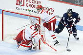 Sean Maguire (BU - 31), Brandon Fortunato (BU - 25), Joey Ferriss (UConn - 28) - The Boston University Terriers defeated the visiting University of Connecticut Huskies 4-2 (EN) on Saturday, October 24, 2015, at Agganis Arena in Boston, Massachusetts.