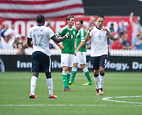 Clint Dempsey (8) of the USMNT celebrates his goal with teammate Jozy Altidore (17) during the game at RFK Stadium in Washington DC.  The USMNT defeated Germany, 4-3, in a friendly match.