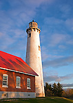 Tawas Point State Park, MI:  Afternoon light on Tawas Point Light (1853) on Tawas Point at dawn, Lake Huron - Iosco County