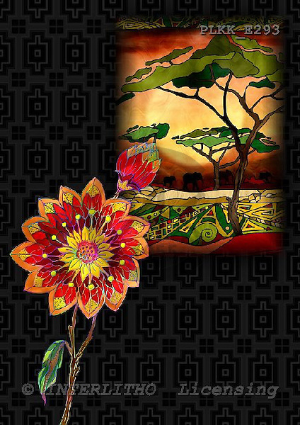 Kris, ETHNIC, paintings,+savanna, flowers++++,PLKKE293,#ethnic# étnico, illustrations, pinturas