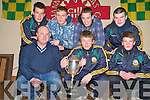 Pictured at a reception in the Kilcummin GAA Clubhouse on Monday night to celebrate the Kilcummin players on the ST Brendans team who won the Corn Ui Mhuiri final on Sunday were Shane O'Callaghan, chairman Kilcummin GAA Club, Chris O'Leary, captain St Brendans team, Enda O'Sullivan, Ian Devane, Gary O'Leary, Damien O'Leary and Gavin O'Leary..NO FEE..PR PHOTO