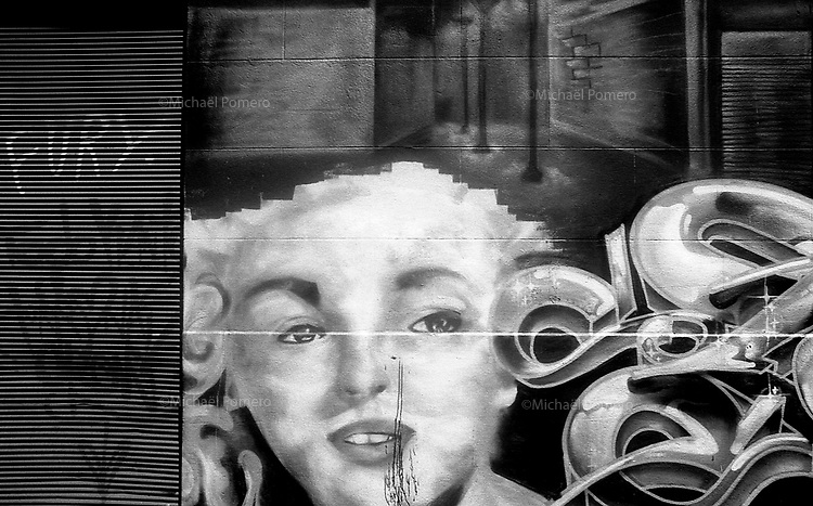 01.2010 Valparaiso(Chile)<br /> <br /> Graffiti avec le visage de Marilyn Monroe.<br /> <br /> Graffiti with the face of Marilyn Monroe.