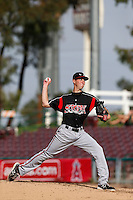Justin Hancock #25 of the Lake Elsinore Storm pitches against the Inland Empire 66'ers at San Manuel Stadium on June 23, 2013 in San Bernardino, California. Lake Elsinore defeated Inland Empire, 6-2. (Larry Goren/Four Seam Images)