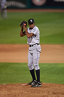Grand Junction Rockies relief pitcher Anderson Bido (30) during a Pioneer League game against the Grand Junction Rockies at Dehler Park on August 15, 2019 in Billings, Montana. Billings defeated Grand Junction 11-2. (Zachary Lucy/Four Seam Images)