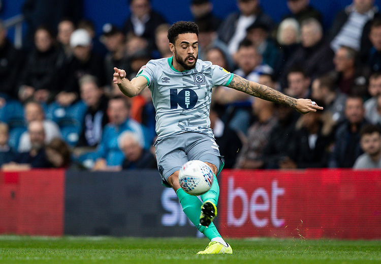 Blackburn Rovers' Derrick Williams crosses <br /> <br /> Photographer Andrew Kearns/CameraSport<br /> <br /> The EFL Sky Bet Championship - Queens Park Rangers v Blackburn Rovers - Saturday 5th October 2019 - Loftus Road - London<br /> <br /> World Copyright © 2019 CameraSport. All rights reserved. 43 Linden Ave. Countesthorpe. Leicester. England. LE8 5PG - Tel: +44 (0) 116 277 4147 - admin@camerasport.com - www.camerasport.com