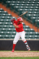 Brayant Henriquez (8) at bat during the Dominican Prospect League Elite Underclass International Series, powered by Baseball Factory, on July 21, 2018 at Schaumburg Boomers Stadium in Schaumburg, Illinois.  (Mike Janes/Four Seam Images)