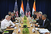 Prime Minister Narendra Modi of India (L) and United States President Barack Obama deliver remarks to the news media after holding a bilateral meeting at the United Nations headquarters September 28, 2015 in New York City. Modi and Obama are in New York City to attend the 70th anniversary general assembly meetings. <br /> Credit: Chip Somodevilla / Pool via CNP