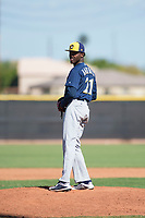 Milwaukee Brewers relief pitcher Alexis Ramirez (21) gets ready to deliver a pitch during an Instructional League game against the San Diego Padres at Peoria Sports Complex on September 21, 2018 in Peoria, Arizona. (Zachary Lucy/Four Seam Images)
