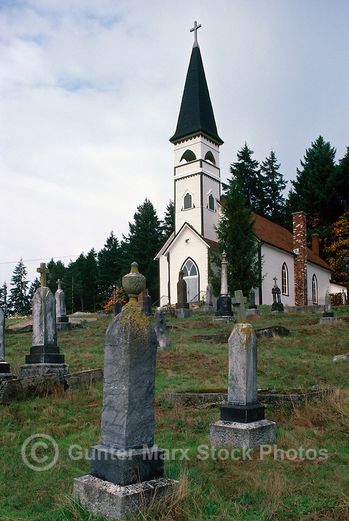 St. Ann's Church and Cemetery at Quamichan, near Duncan, Cowichan Valley, Vancouver Island, BC, British Columbia, Canada