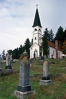 St. Ann's Church and Cemetery at Quamichan, near Duncan, Cowichan Valley, Vancouver Island, BC, British Columbia, Canada