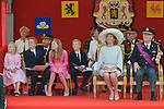 Queen Mathilde of Belgium and King Philippe - Filip of Belgium Prince Emmanuel, Crown Princess Elisabeth, Prince Gabriel and Princess Eleonore , Prince Lorenz of Belgium, Princess Astrid of Belgium, Princess Claire of Belgium and Prince Laurent of Belgium pictured during the military parade on the Belgian National Day pictured during the military parade on the Belgian National Day, , <br /> Brussels, 21 July 2015, Belgium