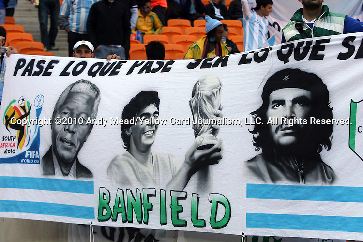 17 JUN 2010:  Argentina banner with Nelson Mandela, Diego Maradona in the stands.  The Argentina National Team played the South Korea National Team at Soccer City Stadium in Johannesburg, South Africa in a 2010 FIFA World Cup Group E match.