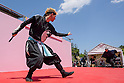 Chris O'Neill, MAY 5, 2016 - American Chris O'Neill, the first foreign full-time salaried ninja in Japan, performs during an event at Nagoya Castle in Nagoya, Aichi Prefecture, Japan. O'Neill joins six Japanese ninjas hired by Aichi Prefecture to promote tourism in the region.<br /> <br /> O'Neill said being a ninja was a lifelong dream. &quot;My personal goal is to protect the weak, defend the innocent, and be a guardian for those who need a guardian,&quot; he said in response to a reporter's question.<br /> <br /> O'Neill added that he was proud to perform alongside his six Japanese colleagues. &quot;We're writing the next chapter of ninja history. We're the next generation of ninja.&quot; (Photo by Ben Weller/AFLO) (JAPAN) [UHU]