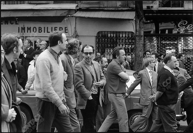 The 1968 May Events,CGT demonstration, Jean-Luc  Godard (center), Paris, France, May 29, 1968.