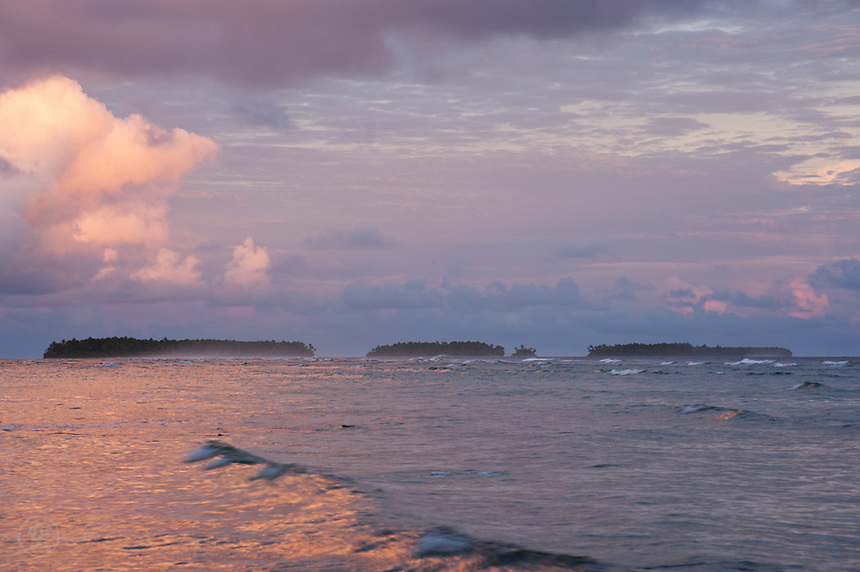 Sunrise over the islands of Majuro Atoll, July 2009.