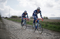 Dimitri Claeys (BEL/Wanty-Groupe Gobert) &amp; Marco Marcato (ITA/Wanty-Groupe Gobert)<br /> <br /> recon of the 114th Paris - Roubaix 2016