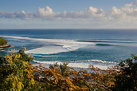 Line up of waves breaking into St Leu, Reunion Island. Photo: Joli