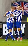Nederland, Arnhem, 6 oktober 2012.Eredivisie.Seizoen 2012-2013.Vitesse-SC Heerenveen.Alfred Finnbogason (l.) van SC Heerenveen en Jukka Raitala (r.) van SC Heerenveen juichen nadat hij de 0-1 heeft gescoord.