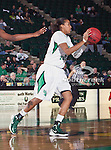 North Texas Mean Green forward Ash'Lynne Evans (1) in action during the game between the Denver Pioneer Women and the University of North Texas Mean Green at the North Texas Coliseum,the Super Pit, in Denton, Texas. Denver defeats UNT 50 to 44...
