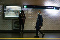 LISBON, PORTUGAL - March 7 : A man wears a protective mask in the subway on March 7, 2020 in Lisbon, Portugal. <br /> Portugal has already confirmed six positive cases of coronavirus. The sixth case is that of a woman (the first), from the district of Lisbon, who was in Italy. The Grão Vasco boarding school in Benfica, Lisbon, closed on Thursday afternoon after the mother of a student was hospitalized with coronavirus. <br /> (Photo by Luis Boza/VIEWpress)