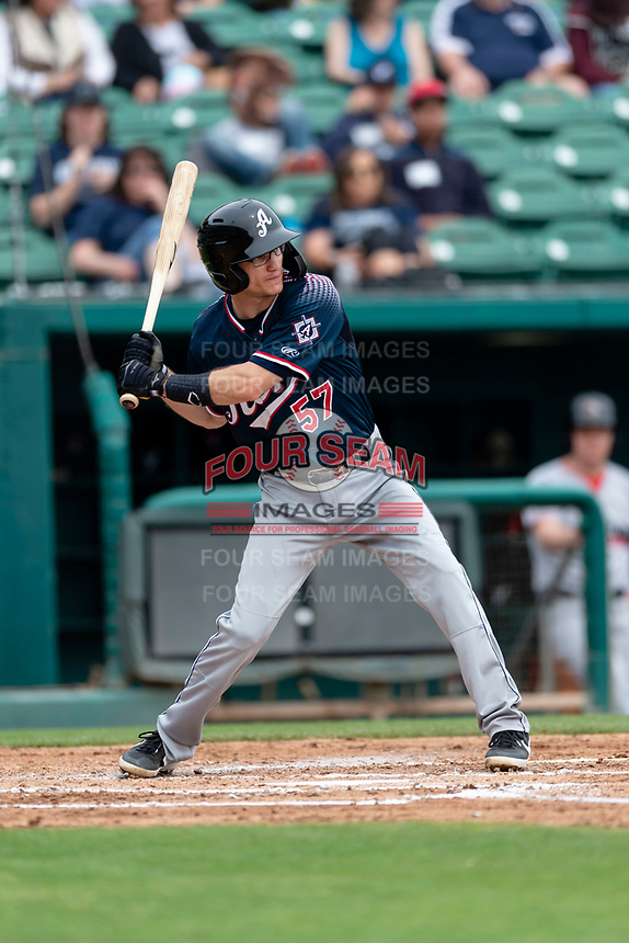 Reno Aces shortstop Kelby Tomlinson (57) batting during a game against the Fresno Grizzlies at Chukchansi Park on April 8, 2019 in Fresno, California. Fresno defeated Reno 7-6. (Zachary Lucy/Four Seam Images)