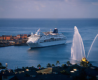 Cruise Ship with Aloha Fireboat Greeting, Honolulu Harbor, Oahu, Hawaii, USA.