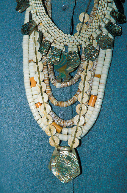Contemporary necklaces of beads made from abalone and clam shells still used today for traditional gatherings and adornment by members of the Ohlone tribe of California