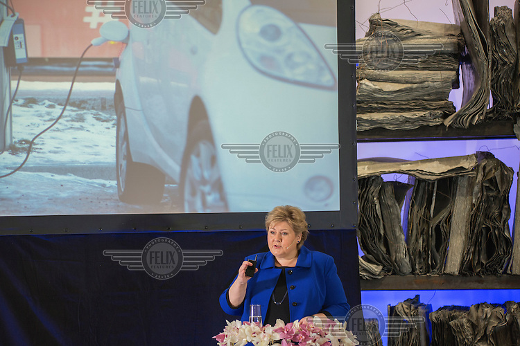 """Norwegian Prime Minister Erna Solberg speaking on Norwegian government conference """"Transport solutions for the future""""<br /> <br /> (photo: Fredrik Naumann/Felix Features)"""