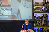Norwegian Prime Minister Erna Solberg speaking on Norwegian government conference &quot;Transport solutions for the future&quot;<br /> <br /> (photo: Fredrik Naumann/Felix Features)
