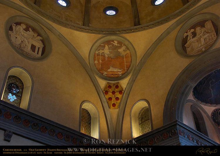 Corner Detail Tondoes St Luke St John Evangelist on Patmos St John Evangelist Donatello Old Sacristy Brunelleschi Basilica di San Lorenzo Florence