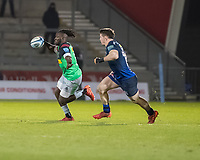 3rd January 2020; AJ Bell Stadium, Salford, Lancashire, England; English Premiership Rugby, Sale Sharks versus Harlequins;  Gabriel Ibitoye  of Harlequins chased by Sam James  of Sale Sharks  - Editorial Use