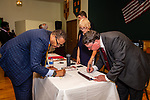 WATERBURY, CT. 17 July 2019-071719 - Incumbent Waterbury Alderman Vernon Matthews, left, and Waterbury Republican Town Committee mayoral nominee Raymond Work sign the book making the nominations official, during a Waterbury Republican Town Committee meeting of picking its slate of candidates for this years elections at Ancient Order of Hibernians Club in Waterbury on Wednesday. Bill Shettle Republican-American