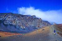 The otherworldly landcape in Haleakala Crater impresses hikers venturing a trail to Ka Lu'u o ka O'o cinder cone