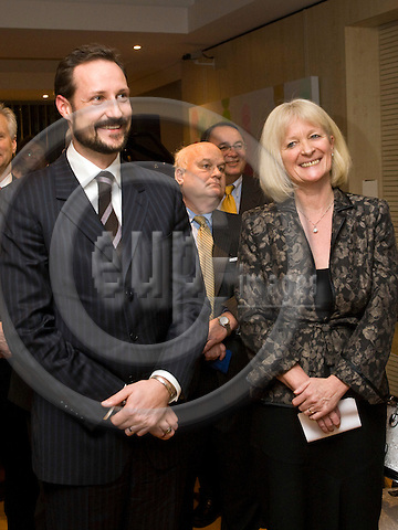 BRUSSELS - BELGIUM - 22 JANUARY 2009 -- Inauguration ceremony of the Norway House with HRH Crown Prince Haakon of Norway. -- HRH Crown Prince Haakon (Le) with Elisabeth Walas State Secretary of Norway laughing. -- PHOTO: Juha ROININEN / EUP-IMAGES.NORWAY OUT!!.
