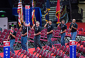 A color guard practices their routine on the floor of the Quicken Loans Arena prior to the start of the convention on Friday, July 15, 2016.<br /> Credit: Ron Sachs / CNP<br /> (RESTRICTION: NO New York or New Jersey Newspapers or newspapers within a 75 mile radius of New York City)