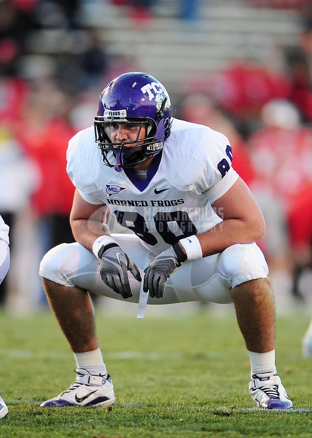 Nov. 27, 2010; Albuquerque, NM, USA; TCU Horned Frogs tight end (80) Logan Brock against the New Mexico Lobos at University Stadium. TCU defeated New Mexico 66-17 to finish the season undefeated. Mandatory Credit: Mark J. Rebilas-