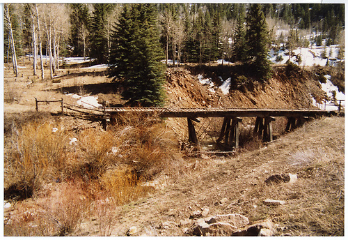 An RGS trestle which has been converted to roadway use.<br /> RGS  near Vance Junction, CO