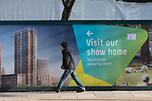 Hoarding  advertising homes for sale. Lendlease Elephant Park development on the site of the former council-owned Heygate Estate, Southwark, London.