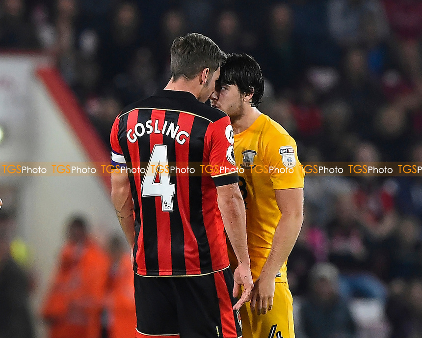 Dan Gosling of AFC Bournemouth and Ben Pearson of Preston North End go head to head during AFC Bournemouth vs Preston North End, EFL Cup Football at the Vitality Stadium on 20th September 2016