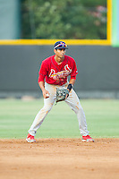 Johnson City Cardinals shortstop Oscar Mercado (4) on defense against the Burlington Royals at Burlington Athletic Park on July 14, 2014 in Burlington, North Carolina.  The Cardinals defeated the Royals 9-4.  (Brian Westerholt/Four Seam Images)